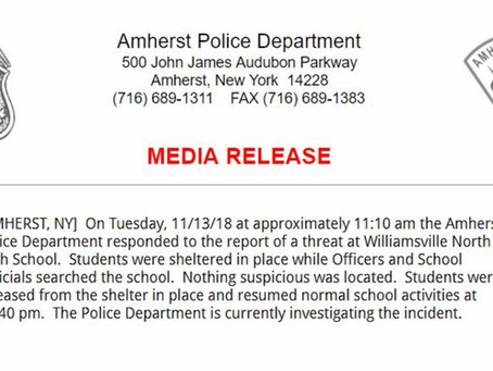"Amherst Police Give ""All Clear"" After School Threat."