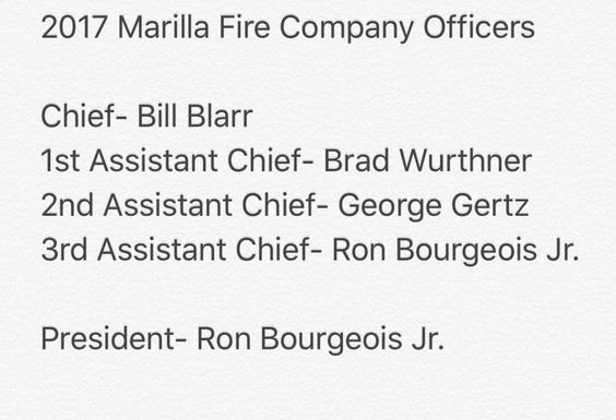 Marilla Fire Election Results. Congrats to All