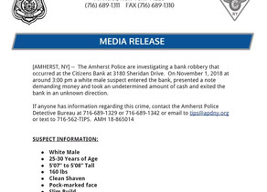 Amherst Police Investigating Afternoon Bank Robbery.