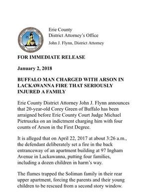 DA Flynn on arraignment of defendant in Lackawanna arson