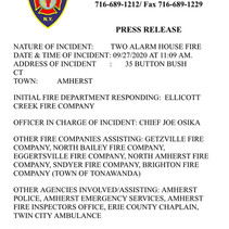 Ellicott Creek - 2 Alarm House Fire.