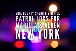 Erie County Sheriff's Office Patrol Logs for Marilla and Alden from Jan 2nd through Jan 8th.