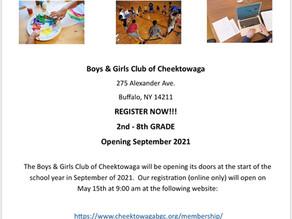 Cheektowaga Boys and Girls Club Open Registration.