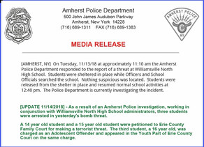Amherst Police Make Arrest in Williamsville North Bomb Threat.