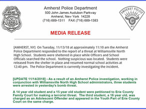 Amherst Police Make Arrest in Williamsville North Bomb Threat.