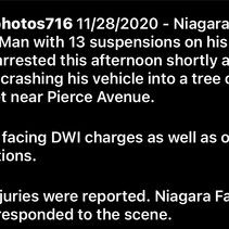 Niagara Falls Police Arrest Man That Crashed For DWI and 13 Active Suspensions.