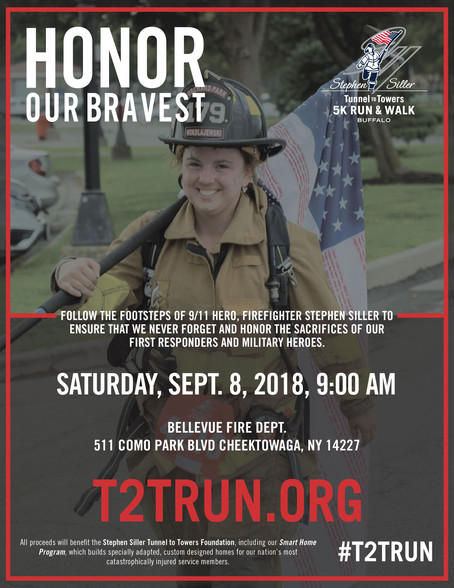 2018 Tunnels to Towers Walk/Run. Saturday, Sept 8th 9AM. Register Now while  you can.