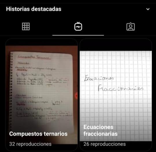 Historias destacadas en Instagram sobre compuestos ternarios y ecuaciones fraccionarias que no se entendieron durante la clase.