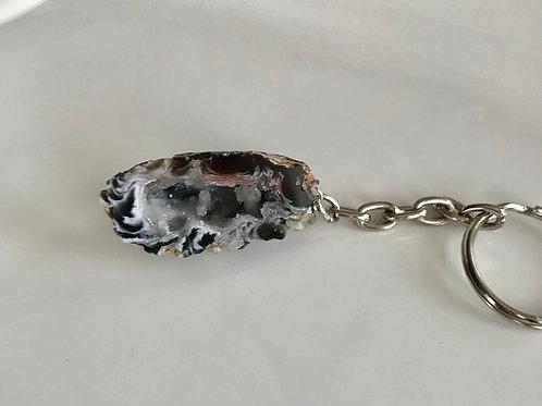 White quartz keychain