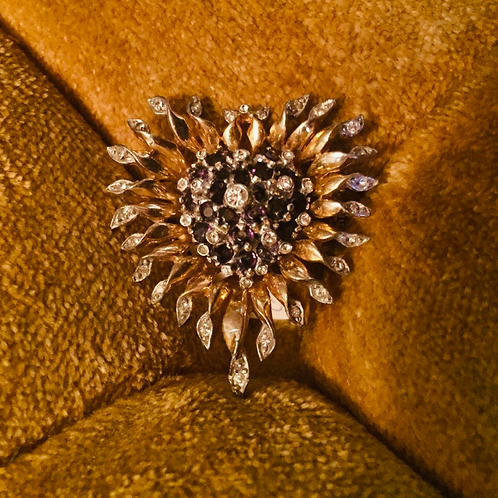 1950' gold plated & white sapphire brooch