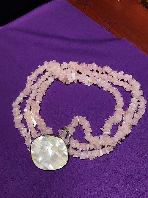 prearl and pink quartz necklace