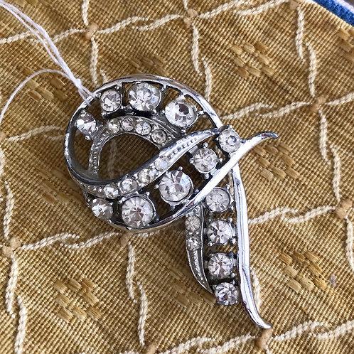 Vintage white rhinestone brooch