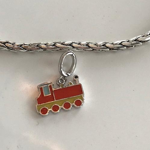 Sterling silver & enamel clip on charm bracelet