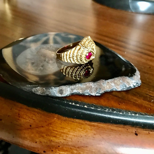 Vintage gold and ruby owl ring