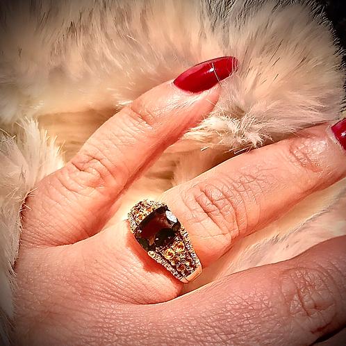 June month ring ( smokey quartz, diamond and citrine)