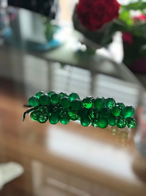 Vintage 1970' Morono glass grapes in emerald color