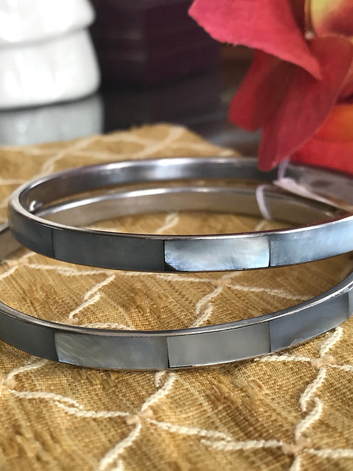 Mother pearl bangles set on silver ( set of 2)