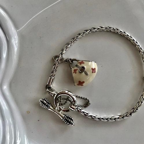 Enamel &sterling silver charm bracelet