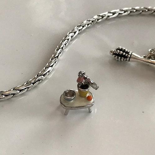 Sterling silver & enamel charm bracelet