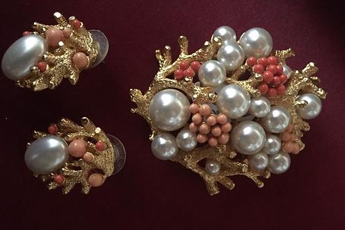 1970' earrings and brooch