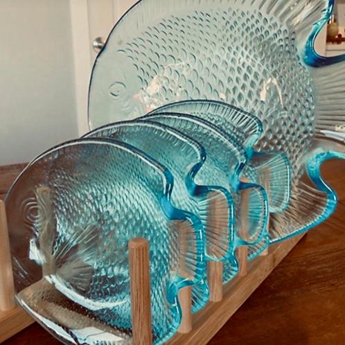 1970 aqua blue glass dishes (set of 5)