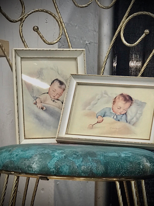 Vintage nursery pics in beautiful picture frame . Set of two
