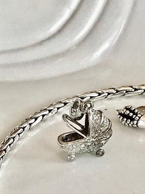 Diamond and sterling silver vintage baby pram