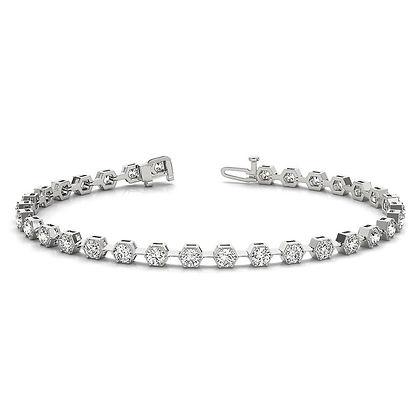 Bezel-set natural diamond tennis bracelet latest design