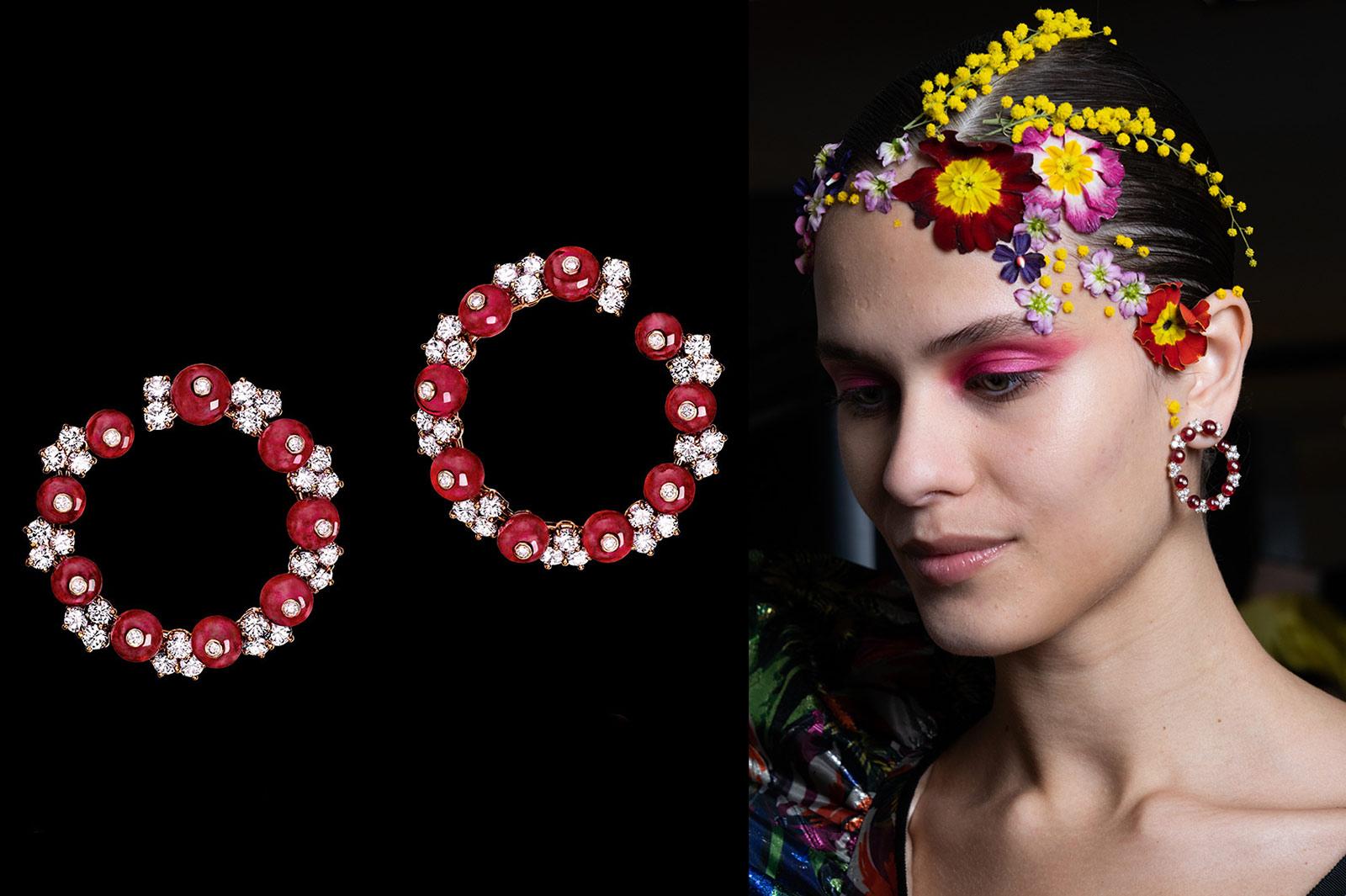 Reza-rubyand-diamond-hoop-earrings