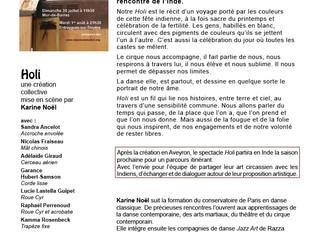 Holi, un spectacle de cirque, le 30 juillet à 11h30 à Mur-de-Barrez et le 1er août à 21h30 à Entrayg