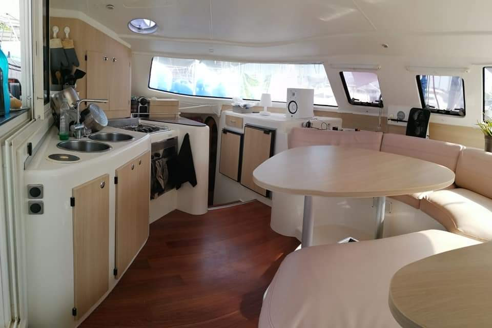 living room and kitchen catamaran