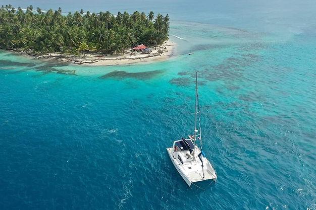 View drone catamaran Las San Blas