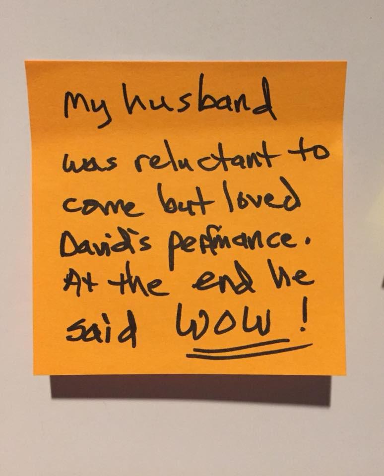 "Audience reaction post-its, ""Leonard Pelkey"""