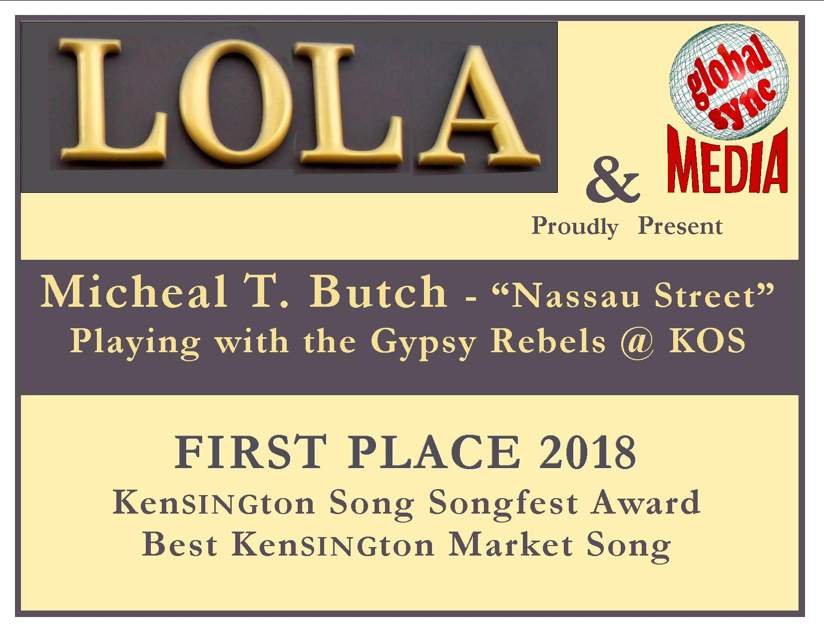 Kensington Song Songfest 2018 award