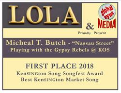 Kensington Song Songfest 2018 award