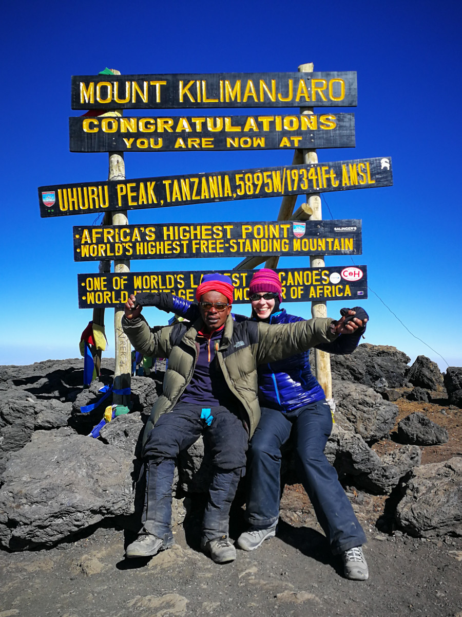 The roof of Africa. Summit of Kilimanjaro at Uhuru peak on the Kibo cone.