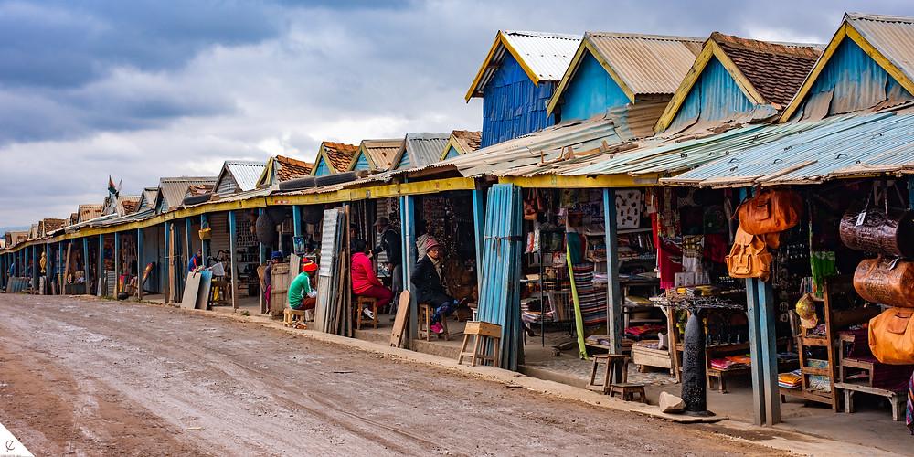 Local market for souvenirs outside of Antananarivo, Madagascar.