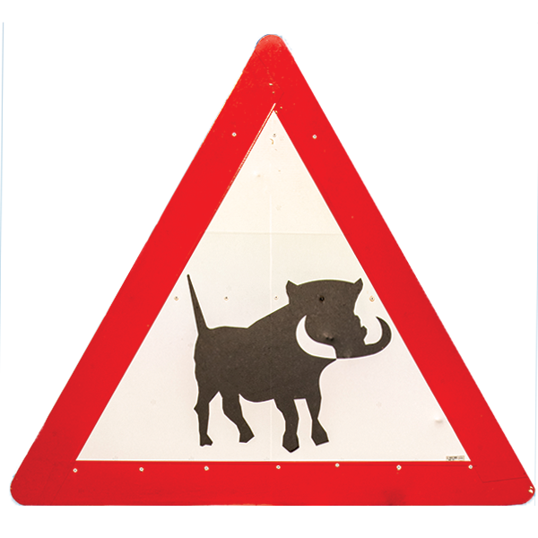Warthog crossing sign in Namibia.