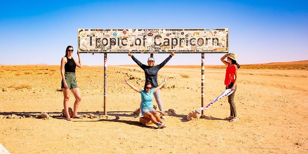 Tropic of Capricorn sign in Namibia.