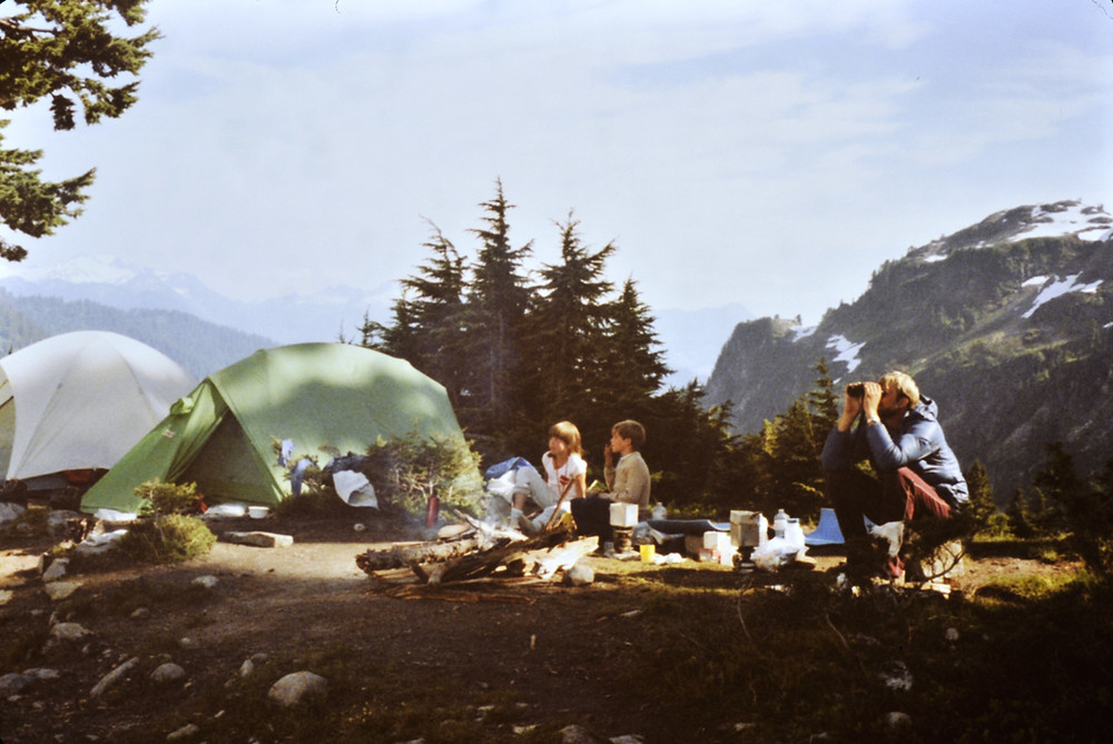 Camping in the Cascade Mountains of Washington State in the USA.
