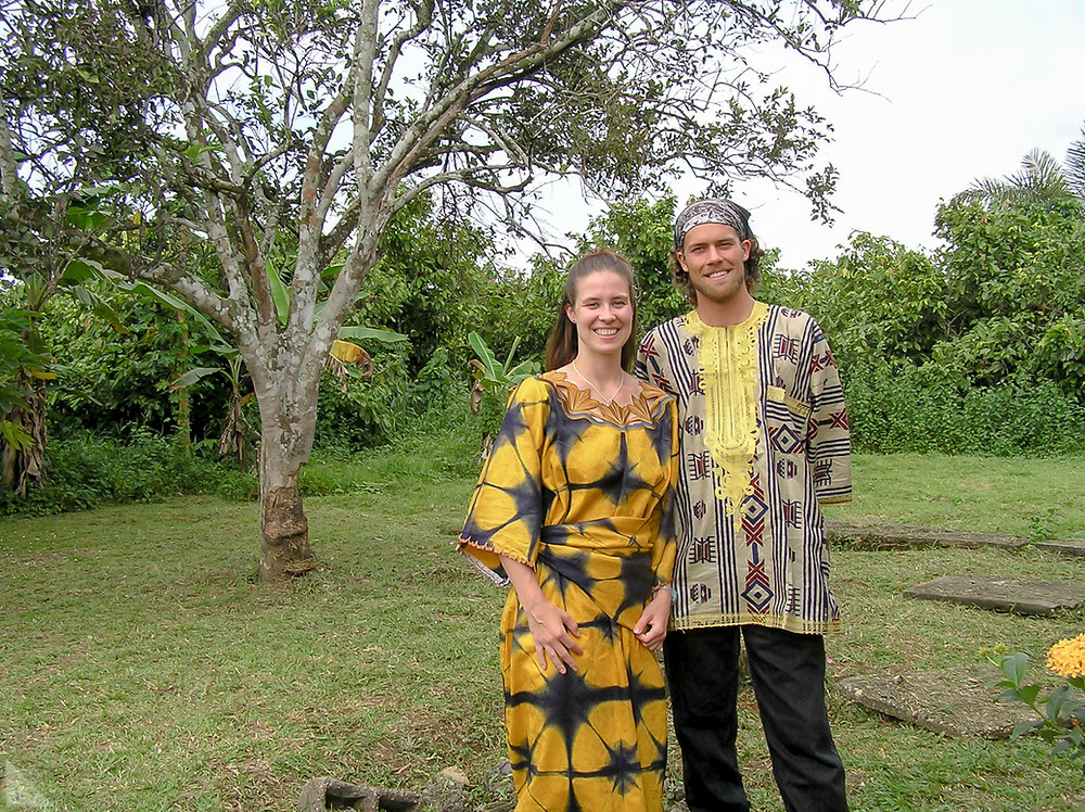 My brother and I in traditional clothing at a Sunday lunch after a long, hot, and beautiful church service in Cameroon.