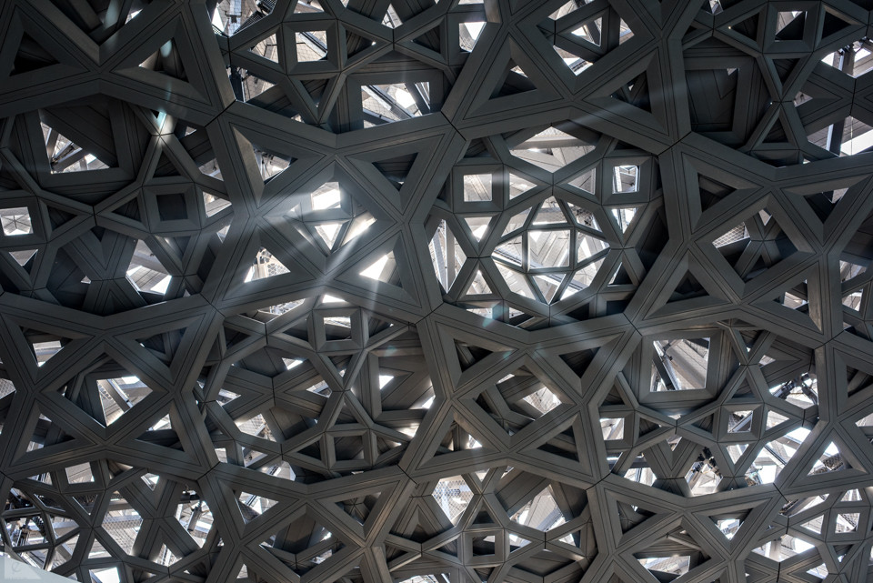 Intricate lattice work of Arabian inspired designs cover the Louvre Abu Dhabi and add another iconic architectural destination to the UAE landscape.