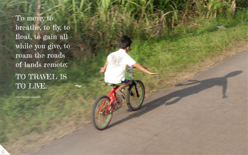 bicycle, boy, fly, Hans Christian Anderson, quote, travel, volunteer, give