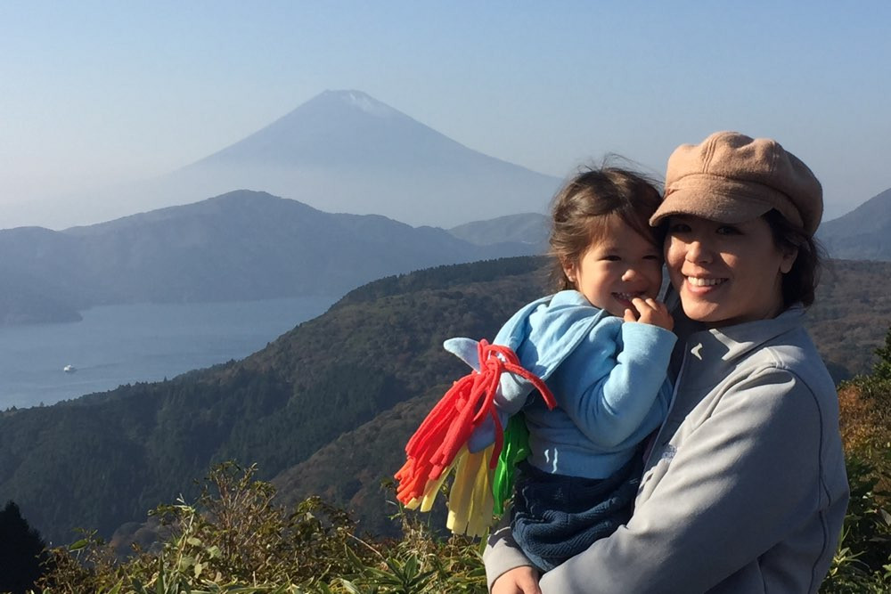 Shainna and Sumire with Mt. Fuji.