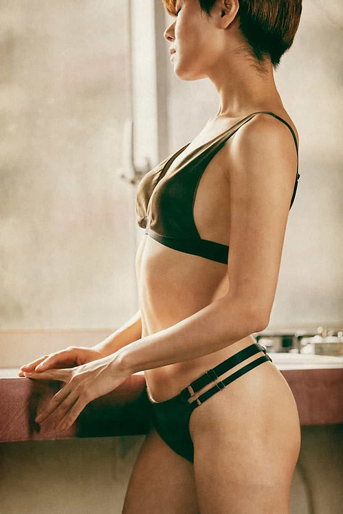 Suede Bra & Strap Tanga Olive Green with Bag