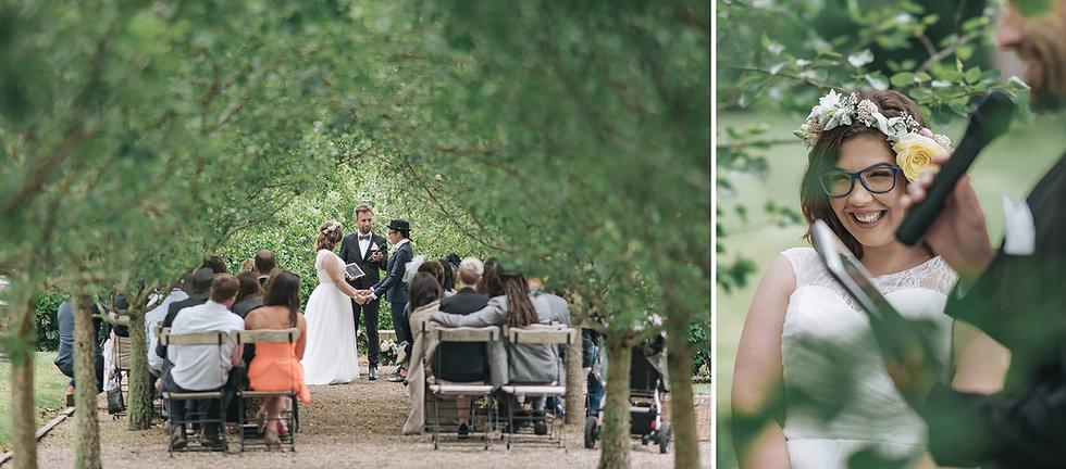 ceremony beneath trees