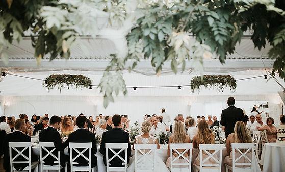 Wedding Reception in garden marquee