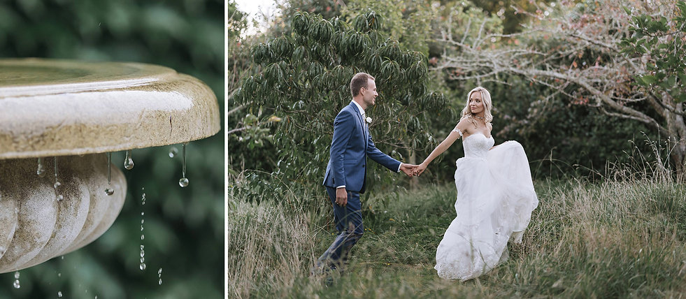 Bride and Groom in wild grasses