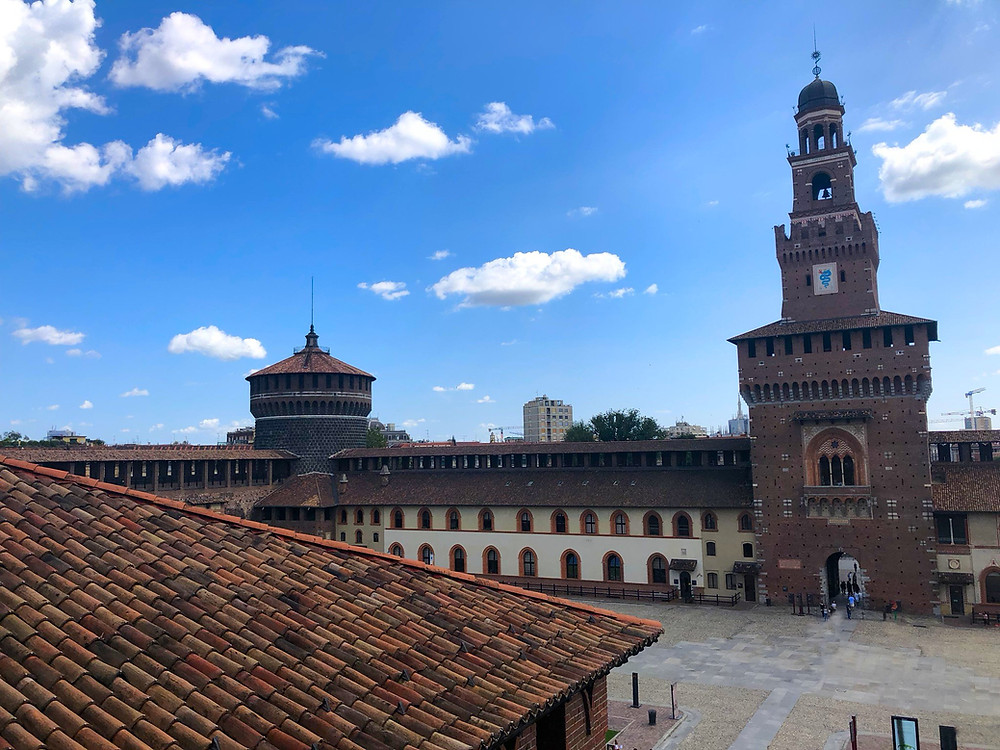 Sforza Castle Courtyard and Towers, Milan Italy