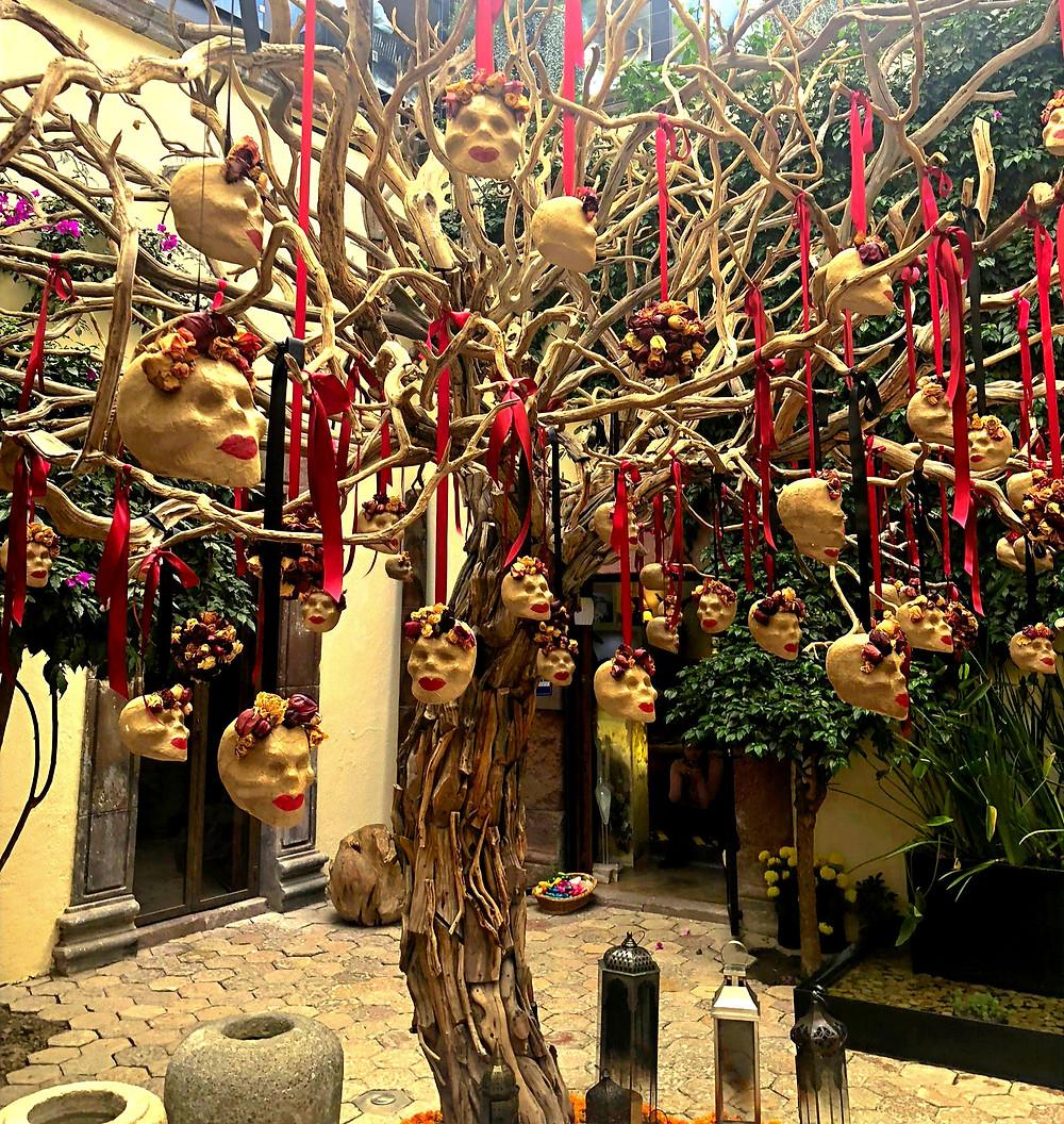 Skull Tree in a Courtyard, Day of the Dead, San Miguel de Allende
